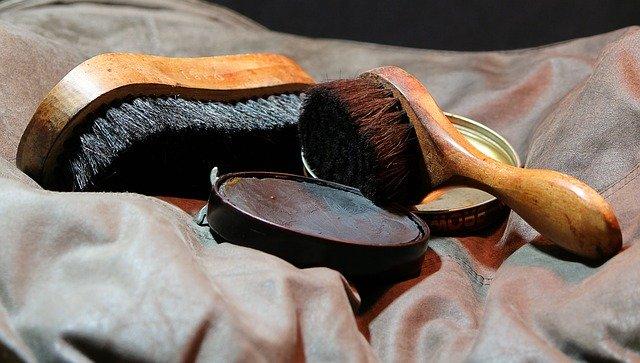 Shoe shine brushes and polish